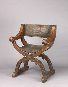 Dante Chair, mid-15th century, Italian (Lombard or Venetian), Walnut and leather