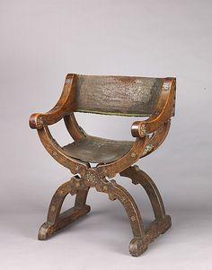 Dante Chair, mid-15th century, Italian (Lombard or Venetian), Walnut and leather