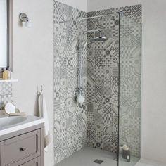 Gulv- og vægfliser grå, ellips dekoration x cm Bathroom Shelves, Bathroom Wall, Modern Bathroom, Small Bathroom, Rustic Bathrooms, Bathroom Ideas, Tile Bathrooms, Bad Inspiration, Bathroom Inspiration