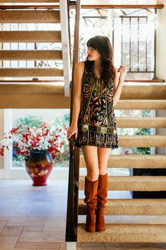 iMyne Fashion: Free People Appreciation | Shy Girl Loud Voice. Spring dress. Knee-high boots. Slouchy boots. Pattern dress for spring. Spring outfit idea.