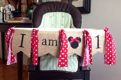 Minnie Mouse Burlap and Rag Highchair Banner by CuterThanWords, $15.00