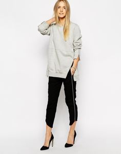 By Zoe Pants with Side Leg Stripe and Angled Ankle Detail