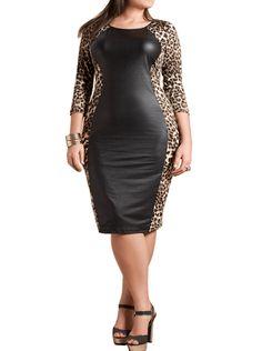 Plus Size Leather Panel Leopard Midi Dress, Plus Size Clothing, Club Wear, Dresses, Tops, Sexy Trendy Plus Size Women Clothes