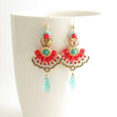 long earrings red turquoise boho earrings Israeli by TamarKeny