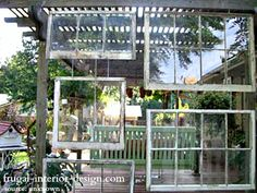 Vintage Windows Create A Hanging Wall From A Pergola