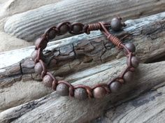 Leather and Copper Bead Bracelet  Beachwear by byNaturesDesignCL, £14.00