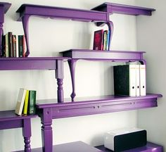 Old tables repurposed as shelves! Very neat idea! Purple Furniture, Painted Furniture, Diy Furniture, Furniture Design, Furniture Stores, Furniture Dolly, Unique Furniture, Vintage Furniture, Furniture Websites