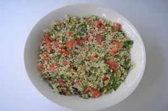 1. Add the bulgur to the bowl, and pure some boiled water. Water   level should be ½ an inch above the bulgur.    2. Put the plate on top of the bowl, and soak the bulgur in water for 15  minutes until they swell in size.    3. Mix the bulgur in a bowl together with the other ingredients, and your  tabouli salad is ready to serve.   Best Served With: Pomegranate Juice    See More: Salad Recipes   Lebanese Recipes   335 195 109