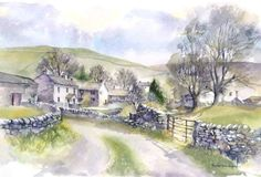 Starbotton, Wharfedale, Craven District, Historical West Riding of Yorkshire - Rachel McNaughton Watercolor Painting Techniques, Watercolor Landscape Paintings, Pen And Watercolor, Landscape Drawings, Landscape Art, Art Tutor, Ink In Water, Country Scenes, Urban Sketching