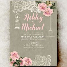 Lace Wedding Invitation - Peonies flowers wedding invitation, birdcage wedding…