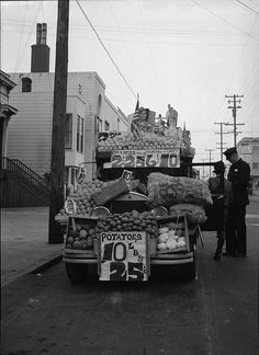 Vegetable peddler's truck, York Street between 23rd and 24th Streets, January 14, 1942 by San Francisco Public Library, via Flickr