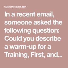 In a recent email, someone asked the following question: Could you describe a warm-up for a Training, First, and Second level horse? So here's what I do, and why I do it.