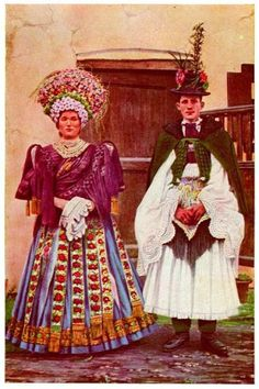 Hungarian Embroidery Design Vintage Hungarian couple in traditional wedding attire Traditional Wedding Attire, Traditional Dresses, Folklore, Folk Clothing, Hungarian Embroidery, Wedding Costumes, Ethnic Dress, Cultural, Folk Costume