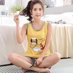 9ca308863a short pants + short sleeve tops pajamas sets cotton nightwear yards M-XXXL  cartoon pyjamas women vest summer sleepwear 2pcs set