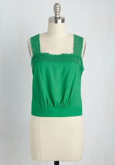 Out on a Trim Top in Verdant. From a rural escapes to big city scenes, this green crop top keeps you cool, confident, and chic! #green #modcloth