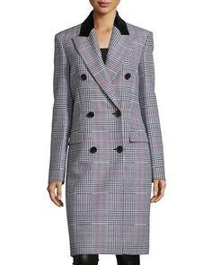 Double-Breasted Glen-Check Coat, Crimson