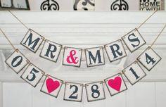 Save the Date Banner- MR MRS 05/28/2014- Bridal Shower Banner - Wedding Banner -Engagement Party Decoration - Photo Prop