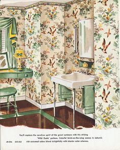 1953 Harmony House Wallpaper - I want a sink like this.
