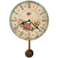 """Howard Miller Savannah 13"""" High Botanical Wall Clock ($102) ❤ liked on Polyvore featuring home, home decor, clocks, brown, floral wall clock, howard miller wall clock, howard miller, roman numeral wall clock and flower centerpieces"""
