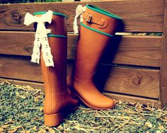 Tall Riding Tan Rain Boot with Lace Bows $72