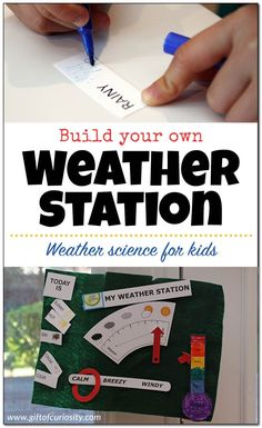 This DIY weather station is a perfect weather science activity for teaching kids about the various weather conditions such as temperature, sky conditions, wind conditions, precipitation, and more. What a great activity to launch a weather unit with presch