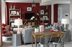 Deep red and grey Rec Room ~ rustic shelves ~ table behind sofa for laptop ~Sarah Richardson ~ Sarah's House 3