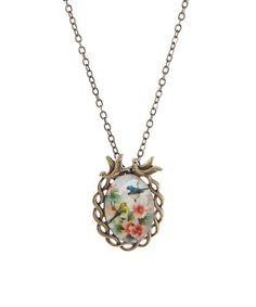 Loving this Goldtone Vintage Birds Cabochon Pendant Necklace on #zulily! #zulilyfinds