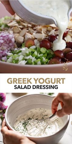 healthy Greek Yogurt Salad Dressing recipe is creamy, flavorful, easy to make, and tastes better than any store bought dressing. Ready in 5 minutes, it is delicious when drizzled on just about anything. Made with the delicious Stonyfield Organic yogurt. Greek Yogurt Salad Dressing, Yogurt Salad Dressings, Salad Dressing Recipes, Easy Salads, Healthy Salad Recipes, Creamy Salad Dressing, Thm Recipes, Tzatziki Salad Dressing Recipe, Greek Salad Dressing Recipe Healthy