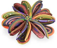 Architectural polymer clay petal brooch by Arden Bardol