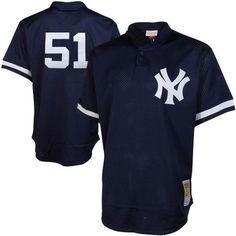 Men's Bernie Williams New York Yankees Mitchell & Ness Navy Blue Cooperstown Mesh Batting Practice Jersey