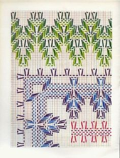 Layette Cross Stitch by Nubia Cortinhas: Vagonite Bargello Needlepoint, Swedish Embroidery, Towel Embroidery, Cross Stitch Designs, Cross Stitch Patterns, Cross Stitching, Cross Stitch Embroidery, Swedish Weaving Patterns, Monks Cloth