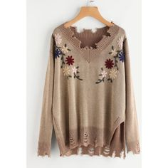 Flower Embroidered Destroyed Jumper (9.215 HUF) ❤ liked on Polyvore featuring tops, sweaters, gold, brown sweater, distressed top, ripped jumper, jumper top and jumpers sweaters