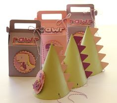 Absolutely daring little girl's dinosaur party. Includes party hats, cards, invitations, and gift boxes.