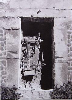 vecchia porta torre aragonese a Ghilarza ( or ) dipinto a inch di china .