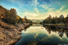 The Ardèche river, between Vals les Bains and Chirols, France.