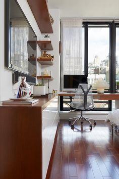 A modern NYC apartment with custom shelves. I Décor Aid I