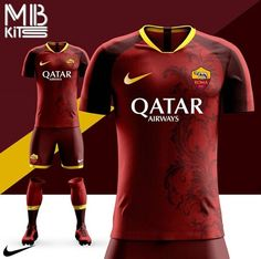 Red AS Roma home kit concept❤⚽️ As Roma, Football Kits, Soccer Jerseys, Wetsuit, Shirt Designs, Concept, Swimwear, Red, T Shirt