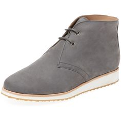 Maiden Lane Women's Sleek Leather Chukka Sneaker - Light/Pastel Grey,... (88 CAD) ❤ liked on Polyvore featuring shoes, sneakers, lace up sneakers, low heel shoes, gray sneakers, grey shoes and lacing sneakers