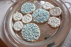 Initial cookies at our vintage garden party wedding made by the brides sister