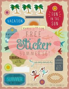 Free Summer Sticker graphic! Gift Shops, Philippines, Free Summer, Scrapbook Stickers, Free Stickers, No Time For Me, More Fun, Connection, Arts And Crafts