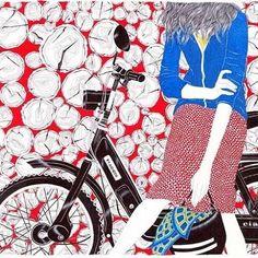 By Carine Brancowitz #illustration #carinebrancowitz #girl #bicycle #art #fashion #mood