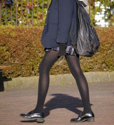 School Girl Japan, School Girl Outfit, Girl Outfits, Boring People, Black Tights, Beautiful Legs, Wearing Black, Hosiery, Leather Skirt
