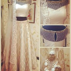 #brocade #lehenga #lehengacholi #offwhite #rawsilk #threadwork #dupatta #sequin #spray #net#tassel #indianfashion #indianstyle #indianattire #indiandress #wedding #indianwedding #favourite #mywork #love #goldmotif #