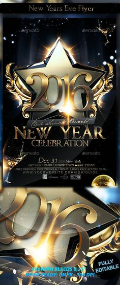 New Year Party Flyer More Party flyer, Flyer template and Font - new year brochure template