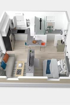 Small Apartment Plans, Small Apartment Interior, Small Apartment Design, Apartment Layout, Small Apartments, Sims House Plans, House Layout Plans, Small House Plans, House Layouts