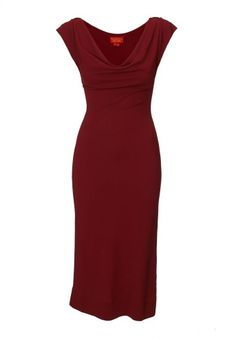 An exquisite way to welcome Autumn/Winter 2013-14, Vivienne Westwood has beautifully crafted this slim fitted piece. Creating a sleek silhouette, this overtly feminine dress is produced in a deep cherry red crepe jersey, elegantly finished with a draped cowl neck and capped sleeves.
