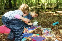 Families having fun in Leigh Woods with Arnolfini, National Trust and artists Assemble.