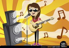 Girl in cartoon style singing and playing acoustic guitar in a concert behind a microphone, there are waves with musical notes coming out of loudspeakers and a background of orange and yellow beams behind these. Nice design for promoting any musical event, activity or classes. Under Commons 3.0. Attribution License.