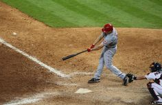 CrowdCam Hot Shot: Cincinnati Reds right fielder Jay Bruce drives in two runs with a double during the thirteenth inning against the Houston Astros at Minute Maid Park. Photo by Troy Taormina