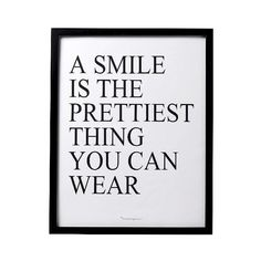 A Smile is… Black Framed Wall Art ($35) ❤ liked on Polyvore featuring home, home decor, wall art, white, framed wall art, white home decor, black wall art, black framed wall art and black white wall art